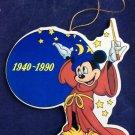 Vintage 1990 Mickey Mouse Fantasia Sorcerer Ornament 1940-1990 Disney Ornament