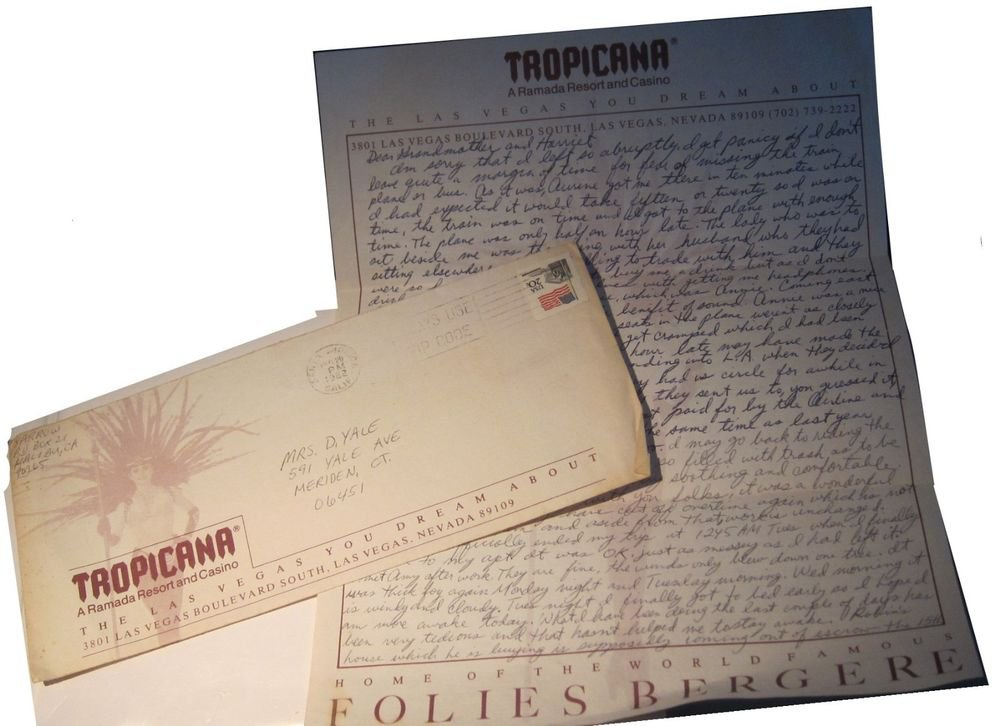 Vintage Tropicana Resort & Casino Las Vegas Letter~envelope & letterhead