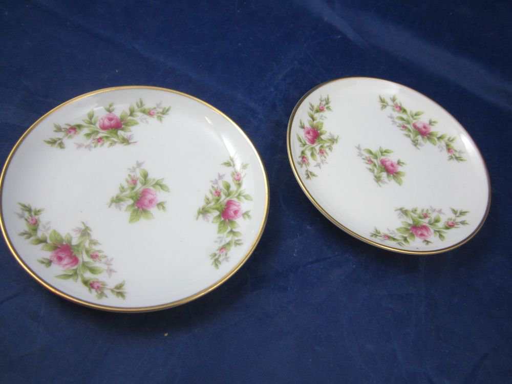 2 Butter plates Rosenthal Germany Pompadour Moss Rose Moliere White