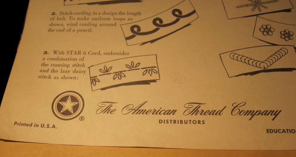 vintage American Thread Company/Velcro Educational Leaflet/ephemera