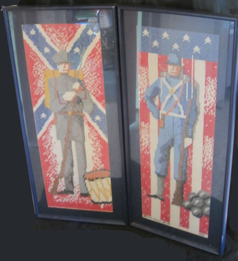 2 Civil War Needlepoint cross stitch embroidery framed Union Confederate soldier