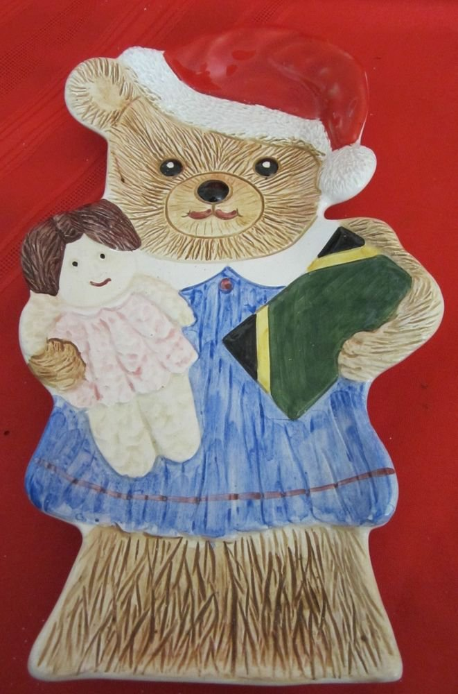 Christmas plate~Santa bear holding doll & gift in Jamaican flag colors~Italy