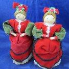 2 Christmas Cornhusk dolls in red & green Velvet Russian Corn husk folk art