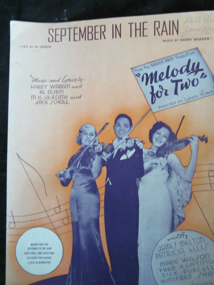 September in the Rain sheet music from movie Melody for Two~FREE US SHIPPING