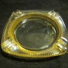 vintage yellow iridescent ashtray~possible Carnival glass