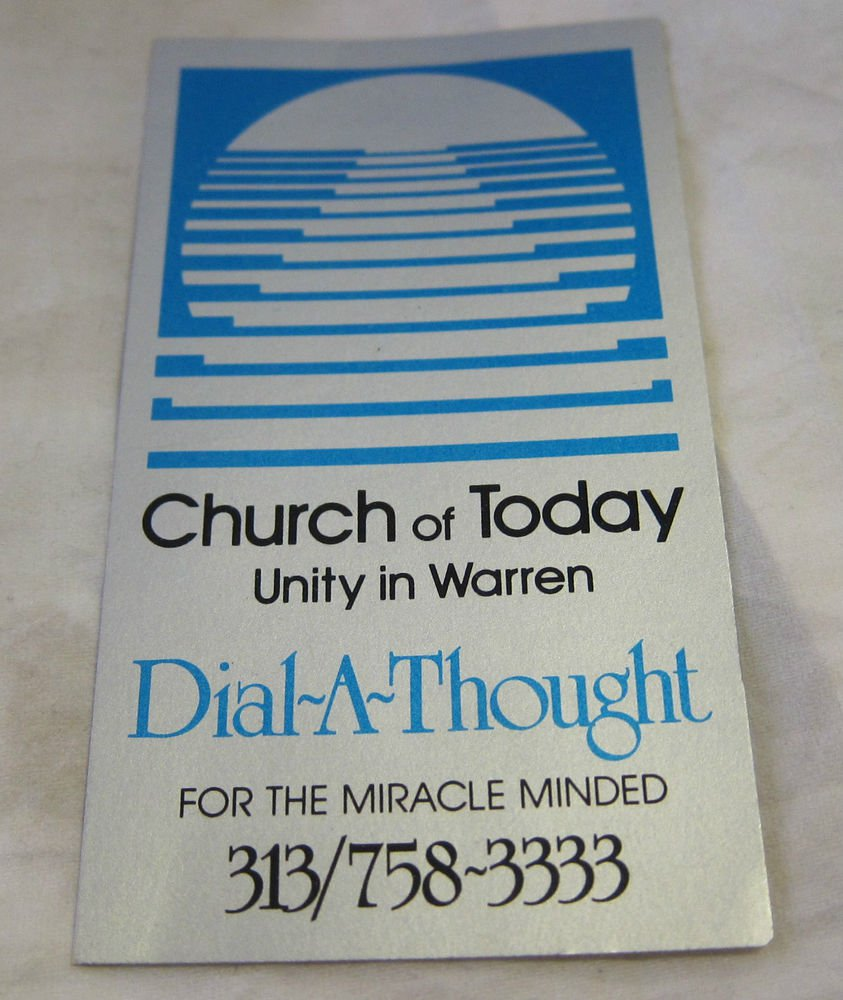 vintage business card~Church of Today Unity in Warren Michigan~Dial a Thought