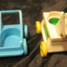 "Fisher Price nursery/baby toy~rolling rocking horse ""17"" & stroller~FREE US SHIP"