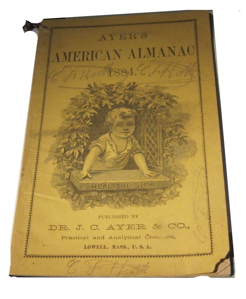1884 Ayer�s American Almanac Dr JC Ayer Lowell MA Massachusetts antique ephemera