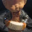 vintage figurine of Little boy playing accordion and whistling or singing~Japan