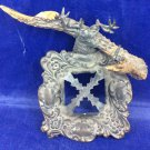 Antique Victorian Stag Or Antler Inkwell Stand Holder Vintage Ink Well