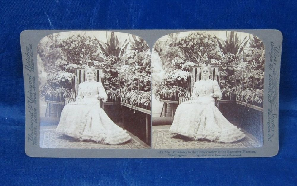 Antique Stereograph Stereoview Card Underwood Mrs.McKinley in the Conservatory