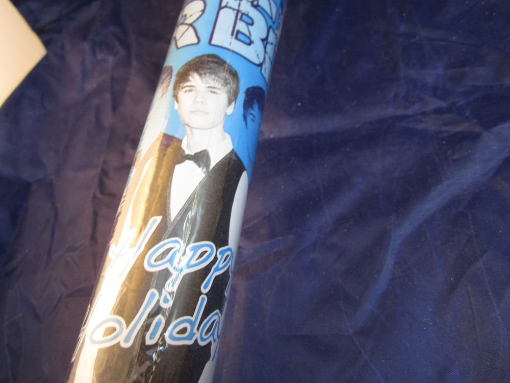 Justin Bieber Gift Wrap~70 sq ft blue Christmas/Happy Holidays wrapping paper 2