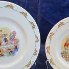 2 Bunnykins Ticket Queue plates/dishes by Royal Doulton Dollhouse 1968-1975