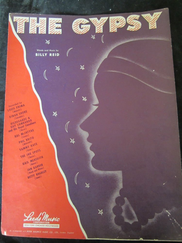 The Gypsy sheet music~words & music by Billy Reid~FREE US SHIPPING