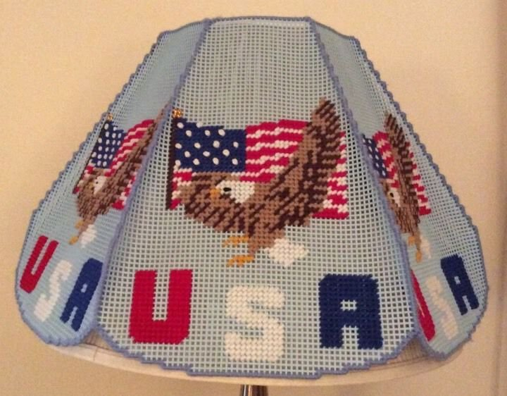 USA Lampshade Needlepoint Patriotic Americana Lamp Shade Craft Plastic Canvas