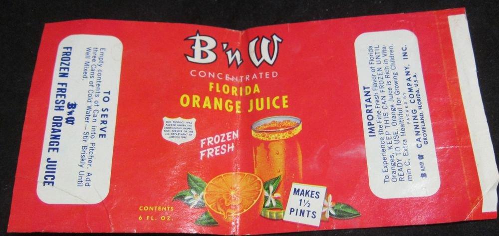 vintage B n W Florida Orange Juice label BNW Ba and W Canning Company Groveland