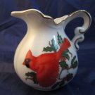 Christmas CREAMER PITCHER with red cardinal & holly Hand Painted LEFTON CHINA