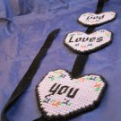 God Loves You plastic canvas needlepoint wall hanging completed purple hearts