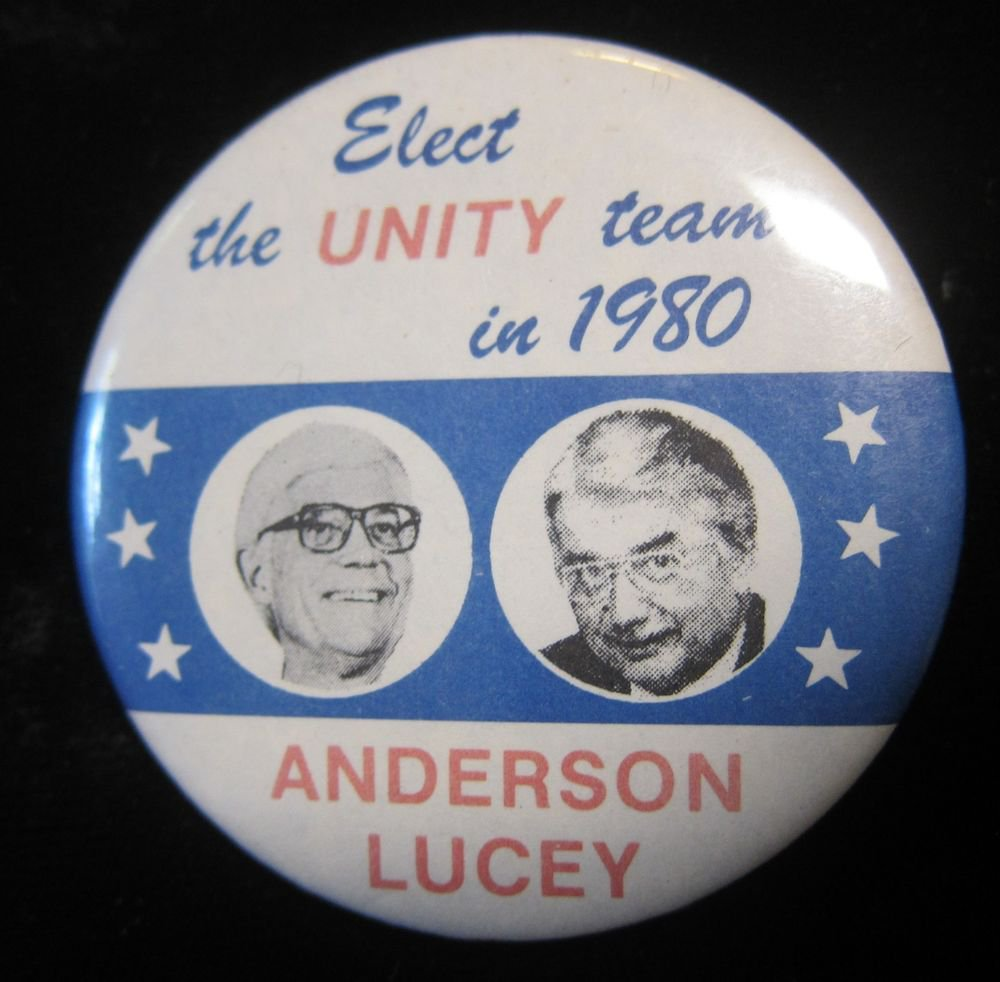 Anderson-Lucey election pin/button~Elect the Unity Team in 1980~FREE US SHIP