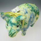 Porcelain Patchworks Pig by Joan Baker Designs blue yellow green floral fabric