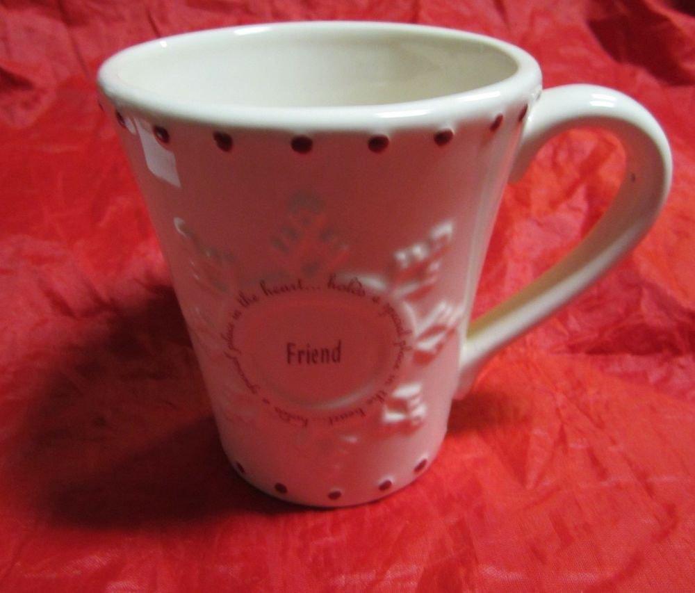 Friend mug by Russ Berrie cream & red ceramic friendship coffee mug cup #22066