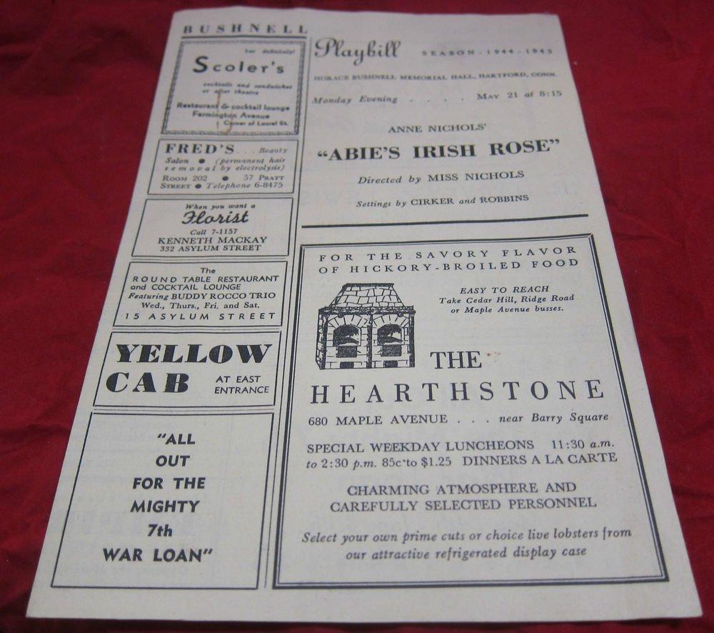 Bushnell Playbill,1944-1945 Season~Horace Bushnell Memorial Hall Hartford CT