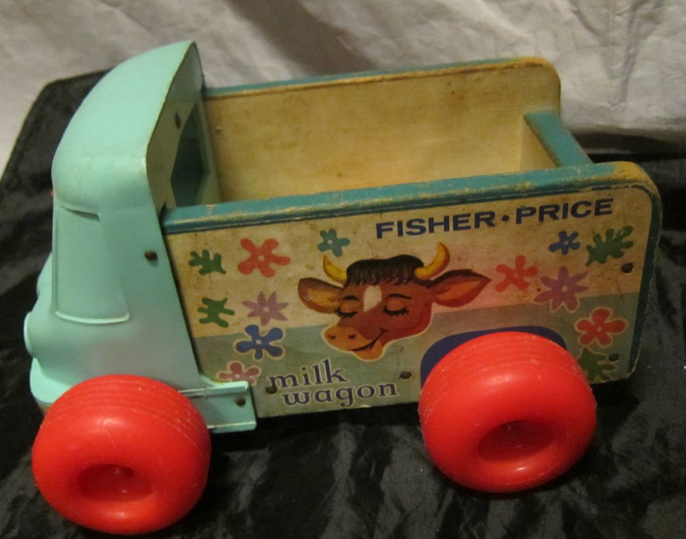 1965 Fisher Price Pull Toy Milk Wagon Delivery Truck~#131~wood & plastic