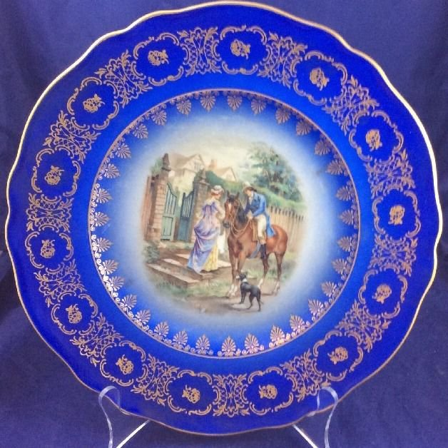 """JKW Western Germany 1930 10.75"""" Plate Dish Courting Couple Love Story"""