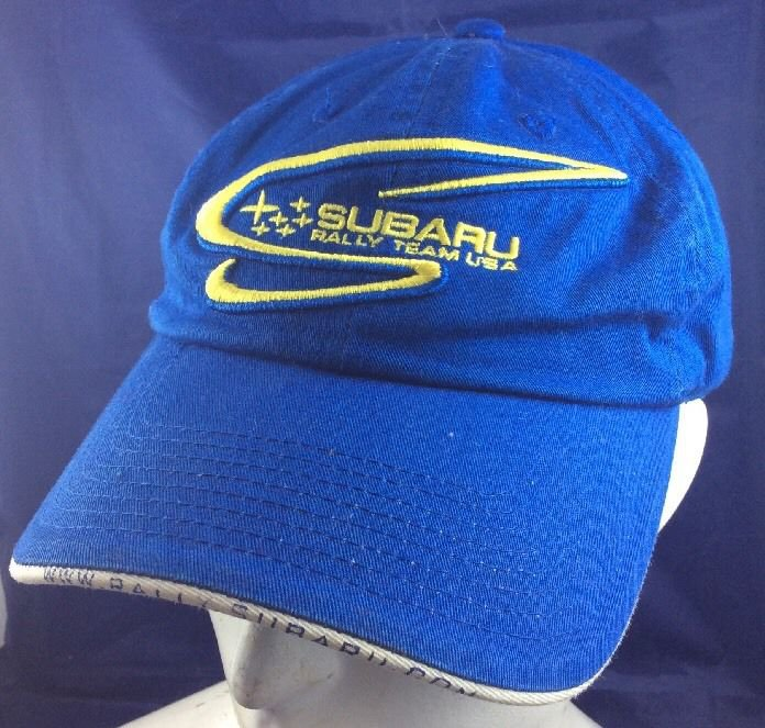 Subaru Rally Team USA Baseball Cap Hat Blue Yellow