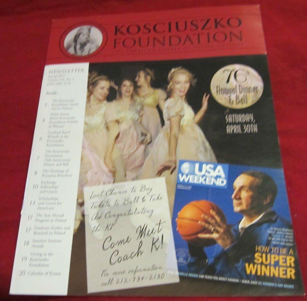 Kosciuszko Foundation magazine~Mike Krzyzewski Coach K at Duke on cover