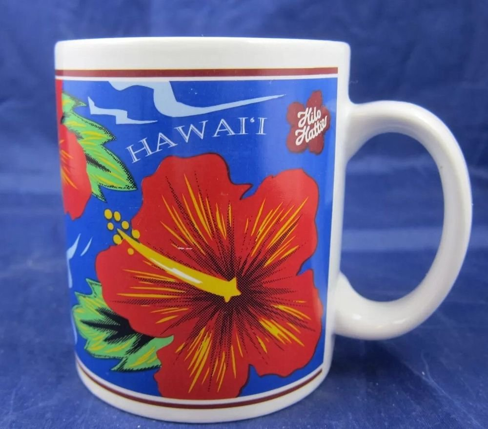 1997 Hilo Hattie Mug Island Heritage Hawaii Souvenir red flower
