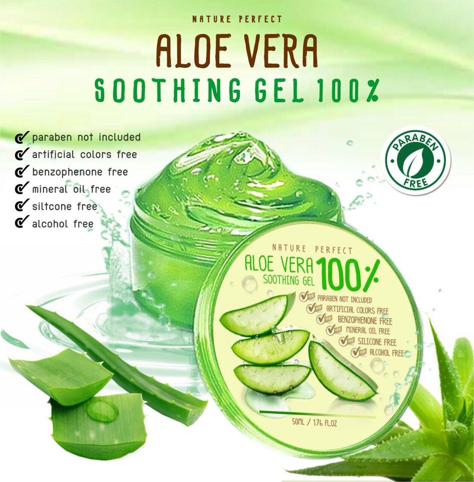 Nature Perfect Aloe vera soothing gel 100% Reduces scars, blemishes, dark spots.