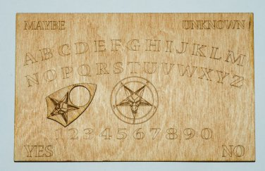 """Laser Engraved 5"""" X 8"""" Wooden Ouija Style Board with Pentagram"""