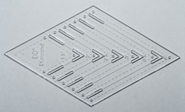 """1/8"""" Clear Acrylic Laser Cut Quilting Template - 60 Degree Diamond Tool 1.5-4"""""""