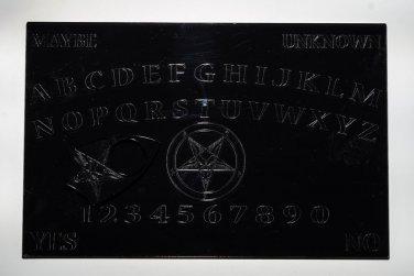 "Laser Cut 11"" X 7"" Black acrylic Ouija style Board with Pentagram"