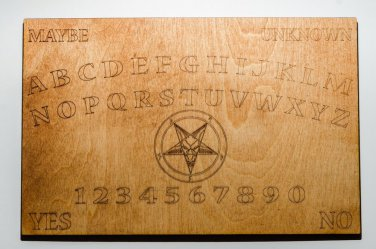 """Laser Engraved 11"""" X 7"""" Wooden Ouija style Board with Pentagram"""