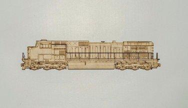 GE Dash 9-44CW Laser cut layered wooden railroad magnet