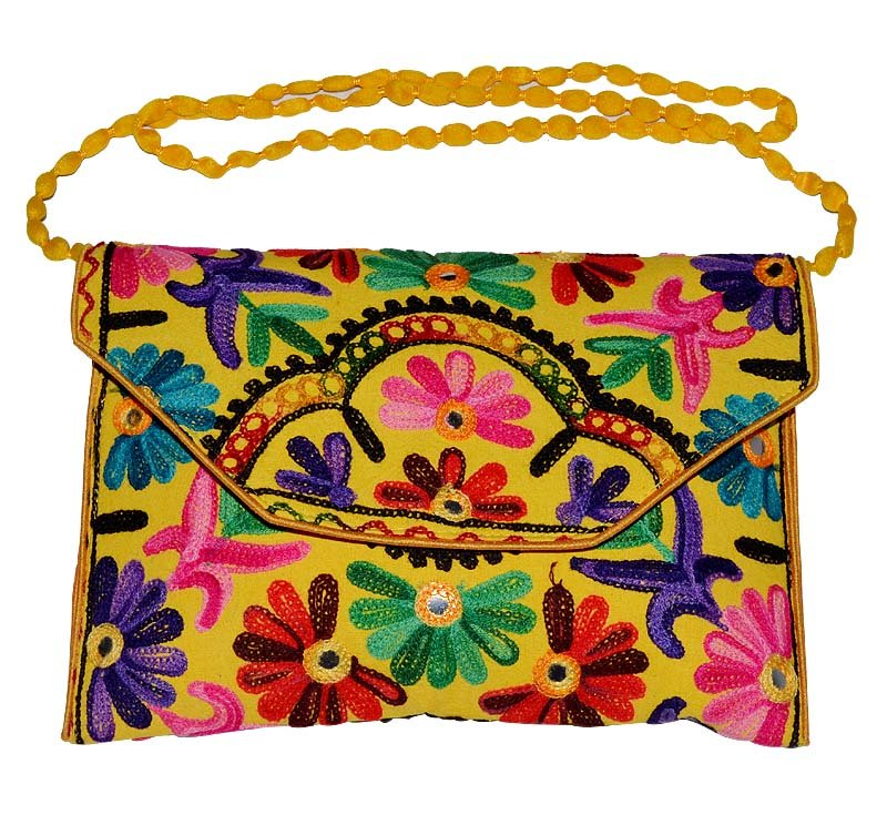 INDIAN NICE MULTI COLOR NEW BAG WEDDING STYLE CLUTCH HAND BEADED HANDMADE PURSE