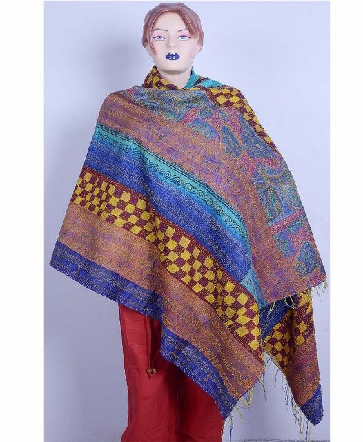 New Women's Fashion Reversible Gorgeous Long Wrap Scarf Kantha Silk Shawl Beach