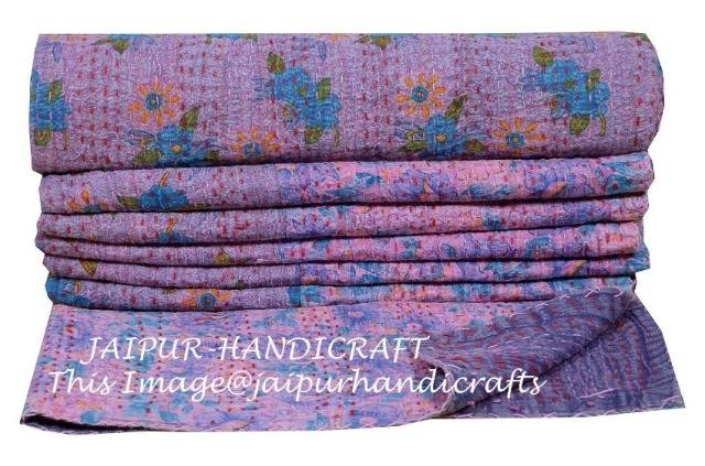 Floral Twin Size Kantha Quilt Cotton Throw Blanket Bedspread Gudari Indian Decor