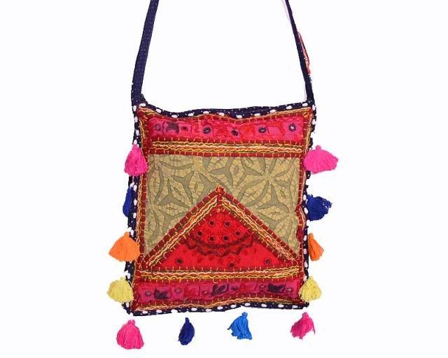 INDIAN BANJARA PATCHWORK VINTAGE HANDMADE EMBROIDERED BAG CROSS PURSE{13.5X11.8}