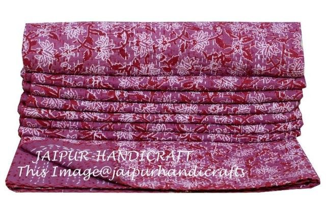 Indian Floral Kantha Quilt Cotton Twin Blanket Bedspread Gudari Decor Throw