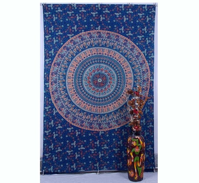 Indian Peacock Mandala Wall Hanging Hippie Beach Blanket Ethnic Decor Tapestry
