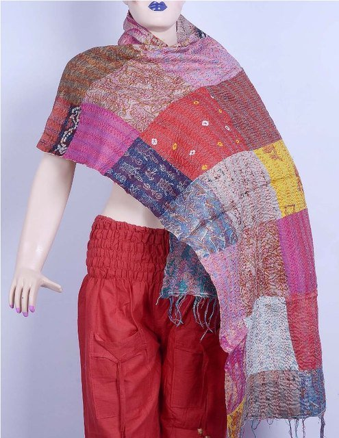 Indian Handmade Vintage Silk Patchwork Kantha Shawl / Scarves Shawl Reversible