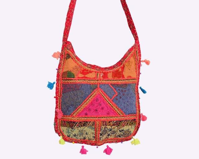 INDIAN HANDMADE BANJARA ETHNIC VINTAGE PATCHWORK CROSS PURSE MIRROR TRIBAL BAG