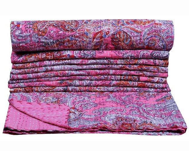 Indian Floral Kantha Quilt Twin Handmade New Gudari Quilt Bedspread Decor Throw