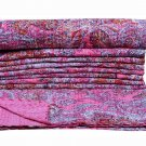 Indian Floral Kantha Quilt Twin Handmade New Gudari Quilt Bedspread Decor Throw
