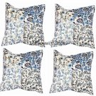 "16"" INDIAN WHITE COTTON CUSHION PILLOW COVER FLORAL & KANTHA WORK HANDMADE THROW"