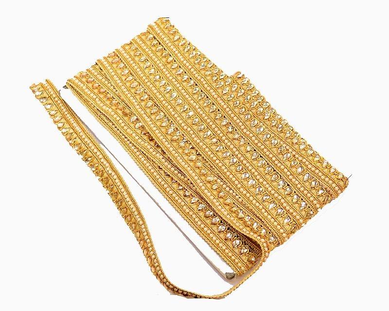 10yd Clear Rhinestone Crystal Gold Tone Charming Chain Bridal Dress Costume Trim