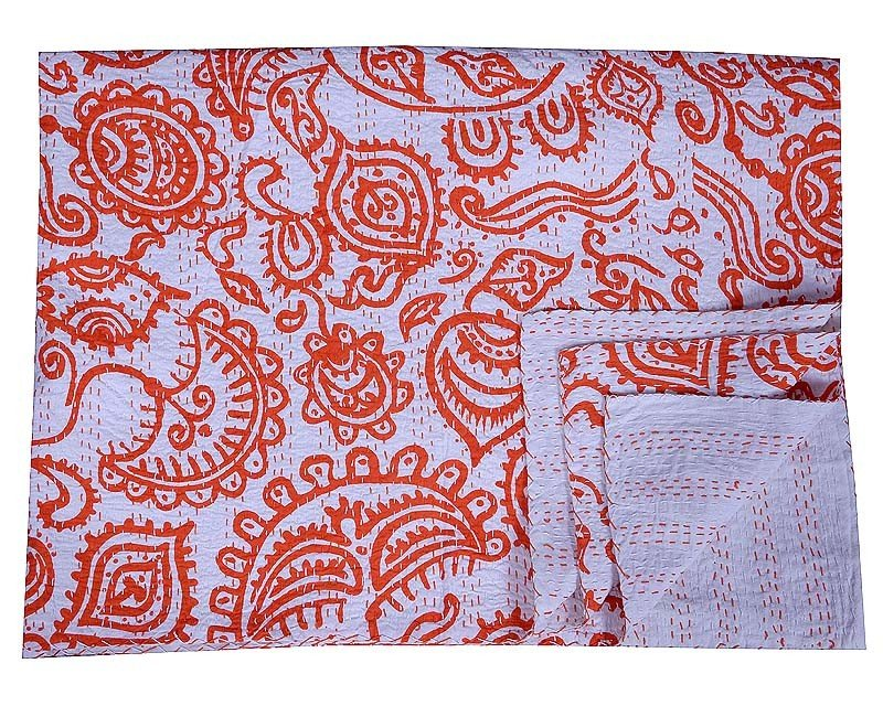 Indian Classic Floral Kantha Quilt Twin Size Bedspread Bedding Reversible Gudari